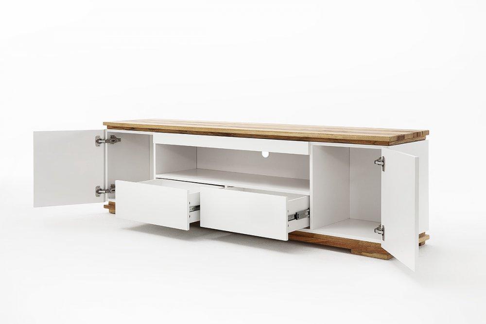 Meuble TV CHARLY blanc mat 2 tiroirs 2 portes 1 niche socle plateau chêne massif