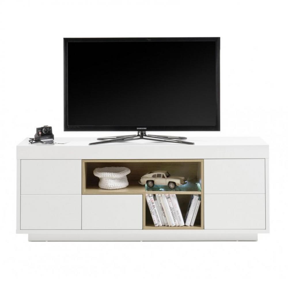 Meuble TV CLEO 169 cm blanc laqué mat 2 portes 1 tiroir 2 niches décor chêne