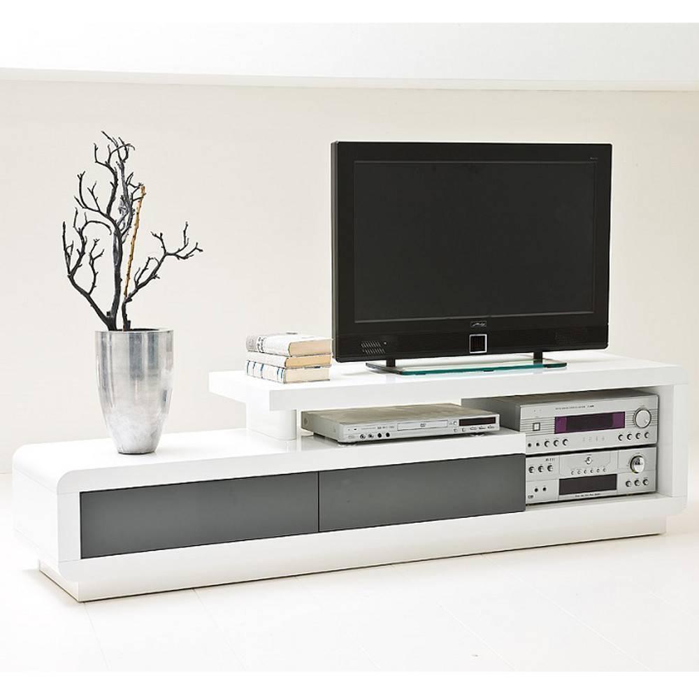 Meubles Tv Meubles Et Rangements Meuble Tv Design Corto 2 Tiroirs Finition Laquee Blanc Et Gris Brillant Inside75