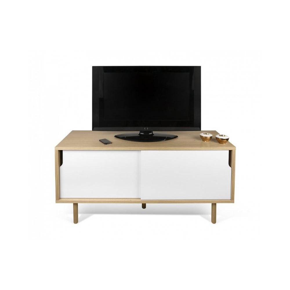 Temahome meuble TV DANN chêne avec 2 portes coulissantes. Douceur du bois naturel, esthétique intemporelle, lignes épurées,
