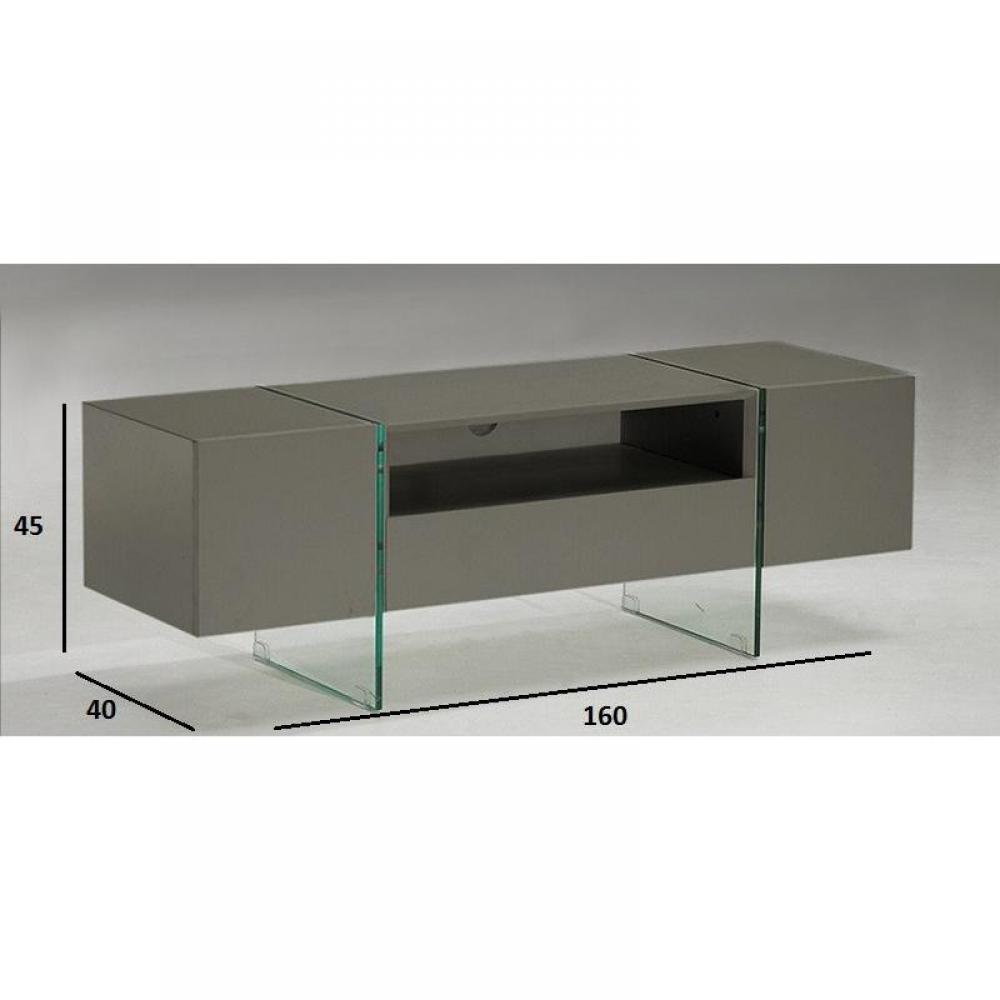 meubles tv meubles et rangements meuble tv design delta 160 x 40 cm taupe avec pi tement en. Black Bedroom Furniture Sets. Home Design Ideas