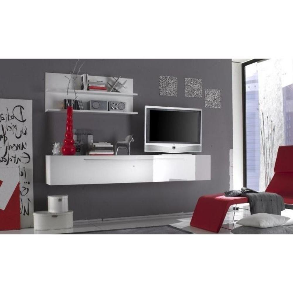 Ensemble mural tv meubles et rangements meuble tv design primera light blanc brillant inside75 - Meuble tv laque blanc brillant ...