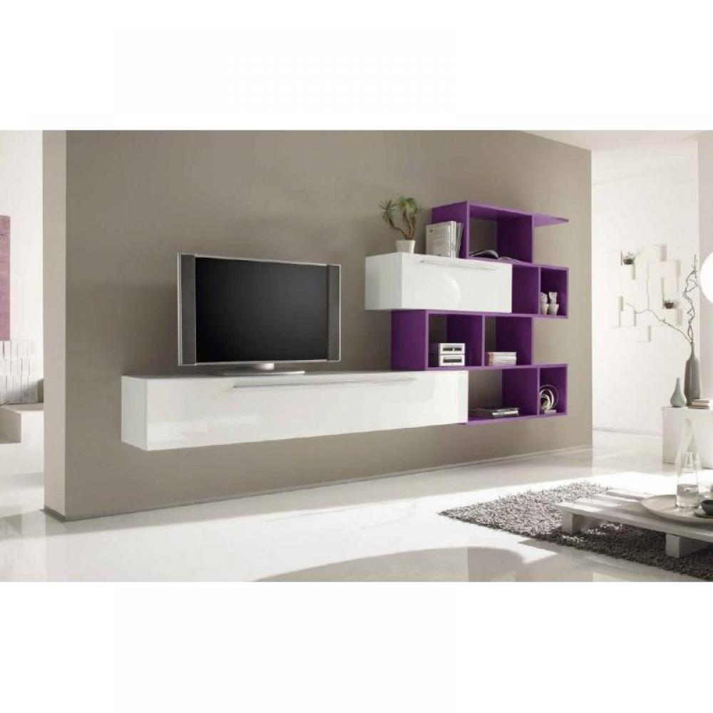 ensemble mural tv meubles et rangements meuble tv design primera shelf blanc brillant et lilas. Black Bedroom Furniture Sets. Home Design Ideas