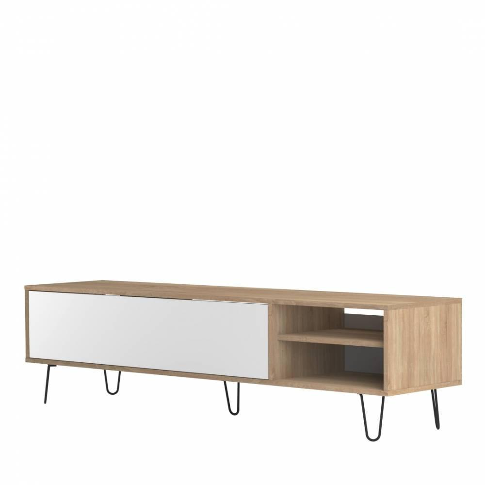 meubles tv meubles et rangements meuble tv design scandinave lackberg 1 porte abattant ch ne. Black Bedroom Furniture Sets. Home Design Ideas