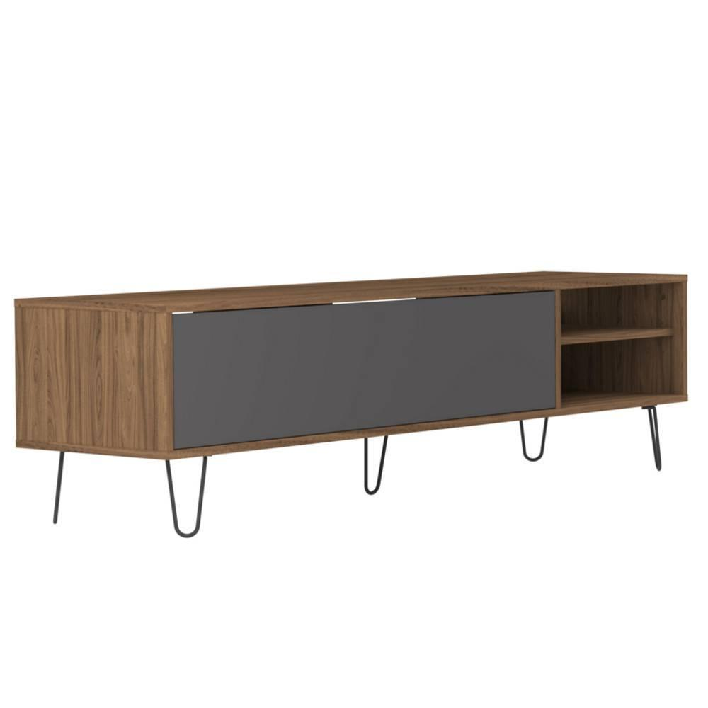 meubles tv meubles et rangements meuble tv design scandinave lackberg 1 porte abattant noyer. Black Bedroom Furniture Sets. Home Design Ideas