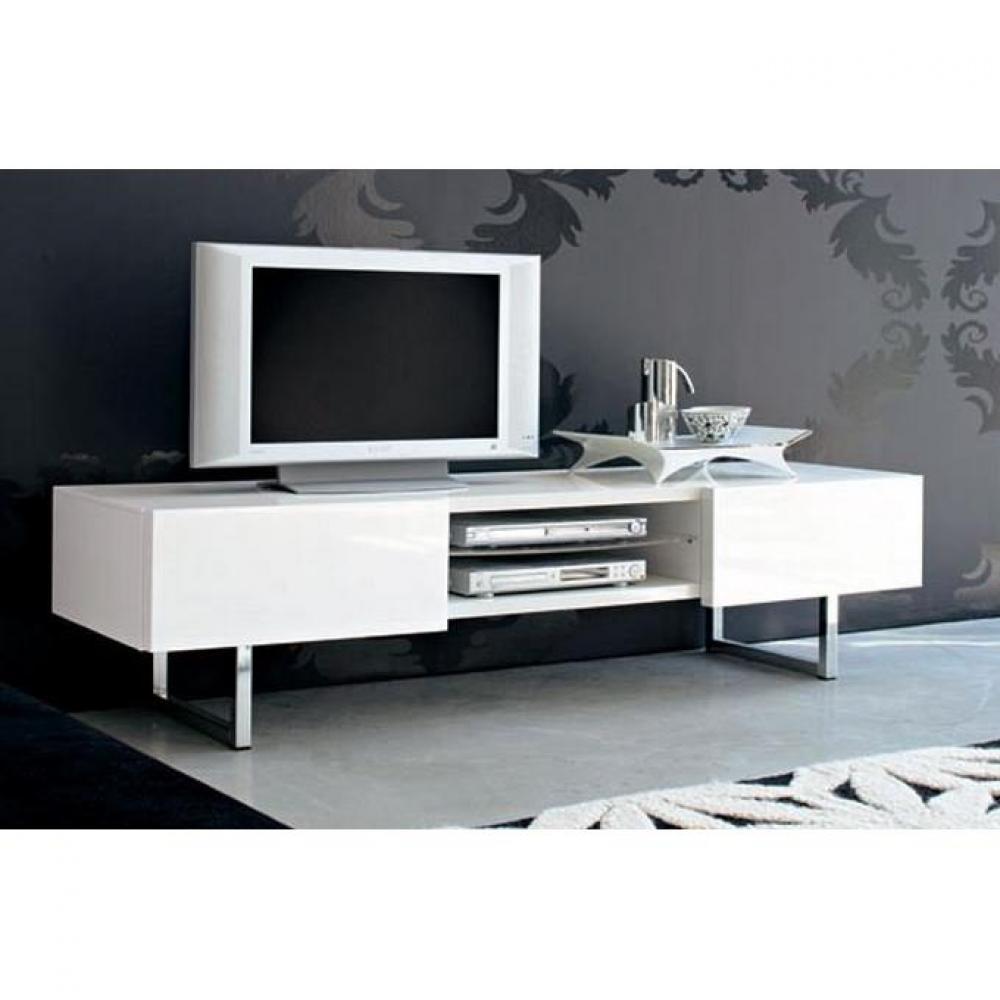 meubles tv meubles et rangements meuble tv design seattle blanc brillant 2 tiroirs de. Black Bedroom Furniture Sets. Home Design Ideas
