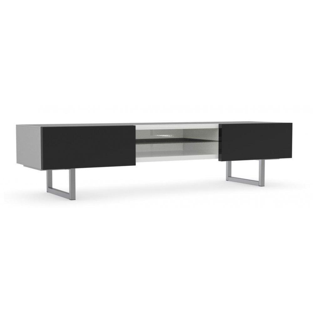 meubles tv meubles et rangements meuble tv design seattle blanc et noir brillant 2 tiroirs de. Black Bedroom Furniture Sets. Home Design Ideas