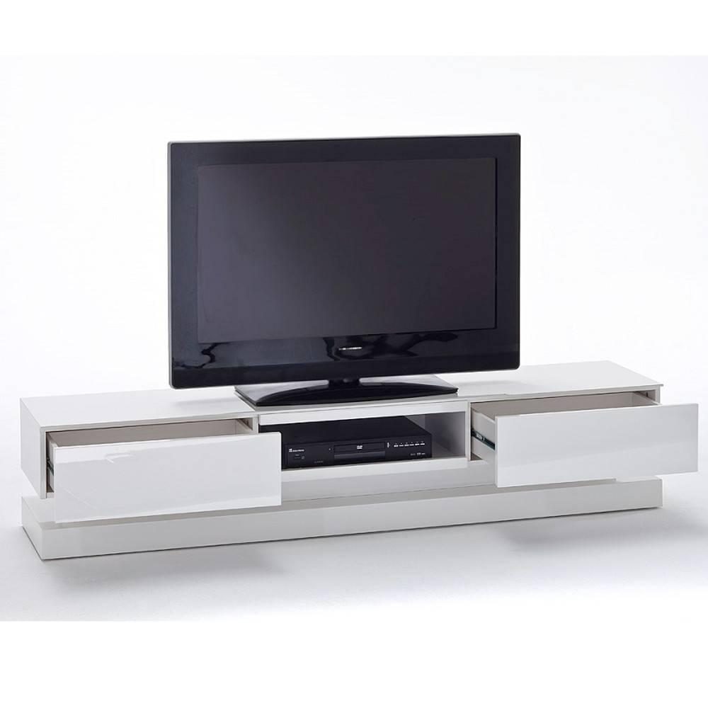 meubles tv meubles et rangements meuble tv design shiva 2 tiroirs laqu blanc mat clairage. Black Bedroom Furniture Sets. Home Design Ideas