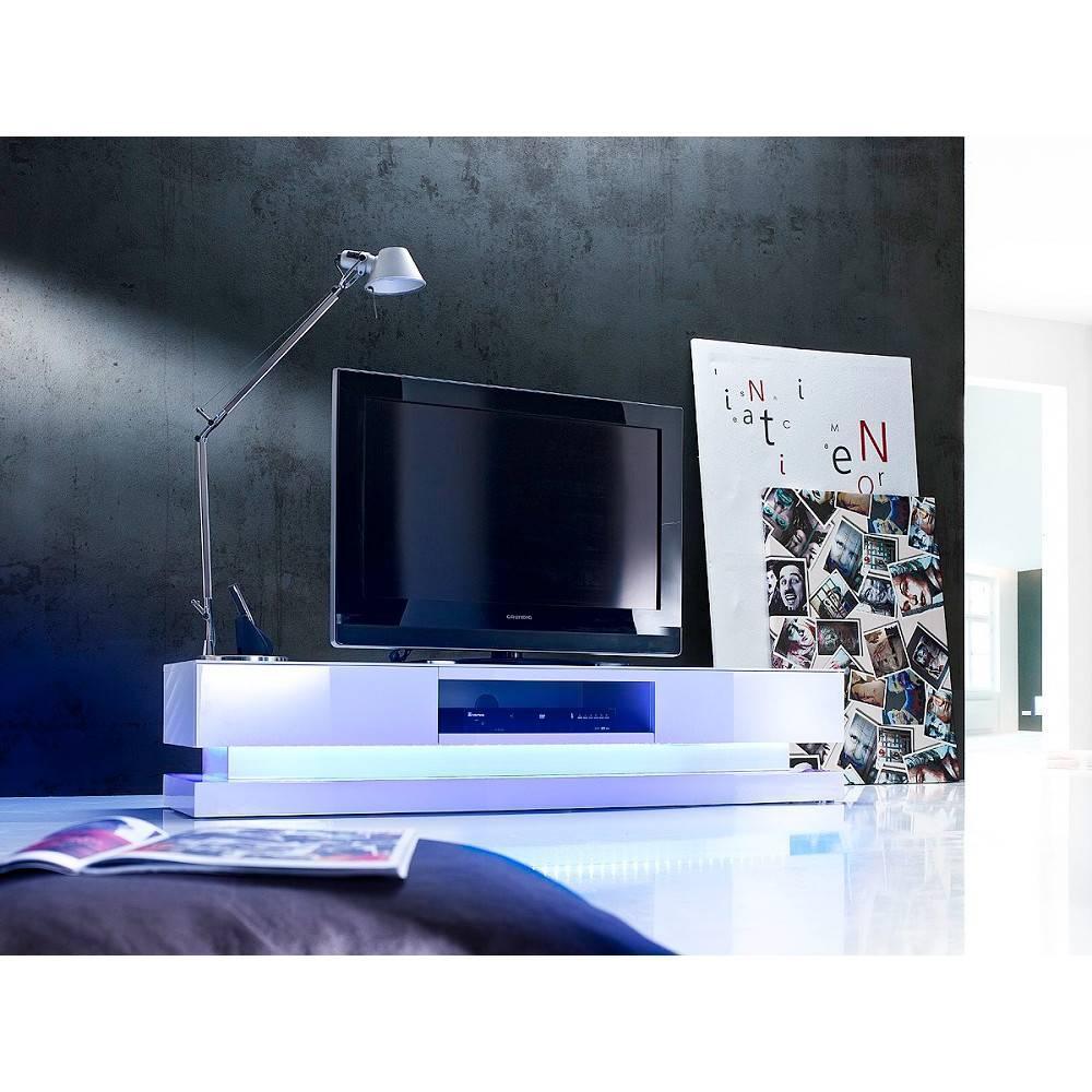 Meubles Tv Meubles Et Rangements Meuble Tv Design Shiva 2 Tiroirs Laque Blanc Brillant Eclairage Led Integre Inside75