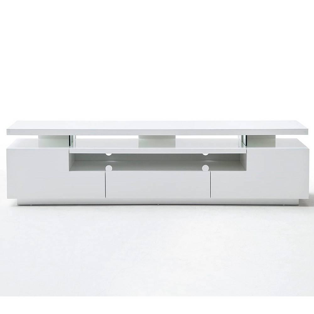 Meuble Tv Design Elios 3 Tiroirs Laque Blanc Mat Eclairage Led Integre