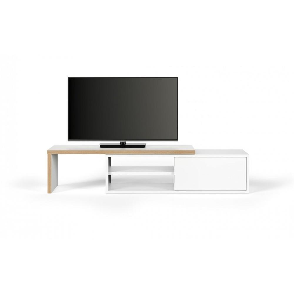 meubles tv meubles et rangements meuble tv modulable move blanc mat et bois avec 1 porte. Black Bedroom Furniture Sets. Home Design Ideas