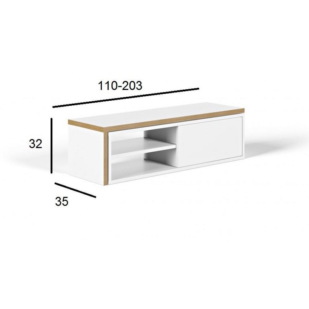 Meubles Tv Meubles Et Rangements Temahome Meuble Tv Modulable  # Meuble Tv Blanc Mat Porte Coulissante
