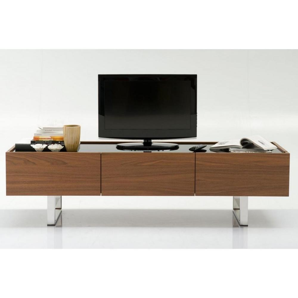 meubles tv meubles et rangements calligaris meuble tv design horizon noyer plateau verre noir. Black Bedroom Furniture Sets. Home Design Ideas