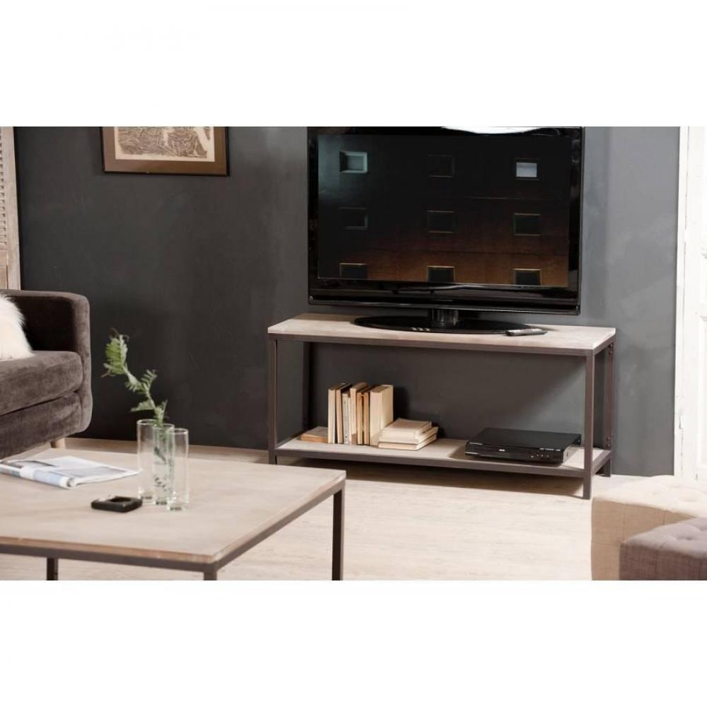 Meuble tv industriel avec tablette LEA en bois de paulownia et en métal