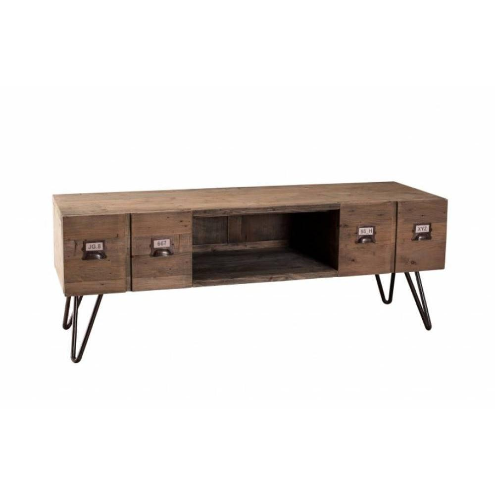 meubles tv meubles et rangements meuble tv au style industriel octave en pin 2 tiroirs inside75. Black Bedroom Furniture Sets. Home Design Ideas