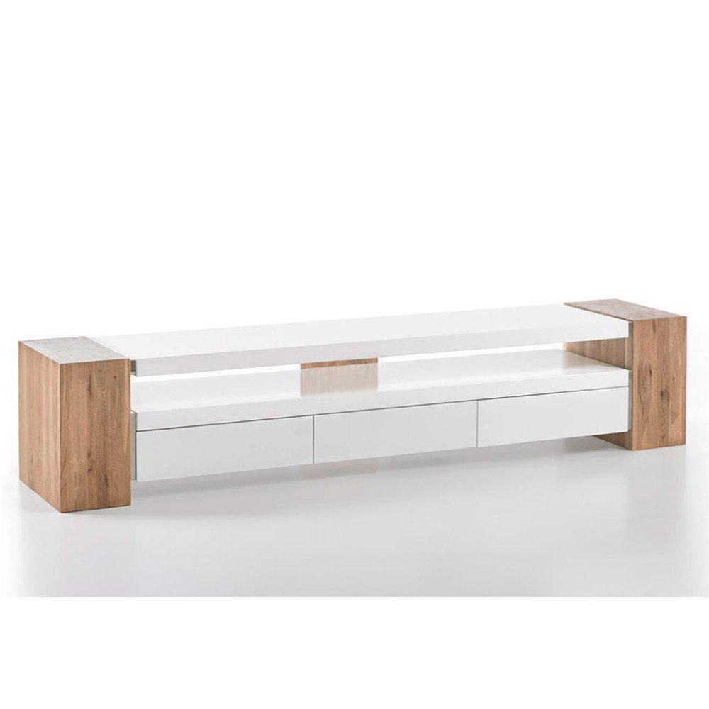 Meuble TV Design Scandinave JULE 3 Tiroirs Laqué Blanc Mat Et Chêne Massif