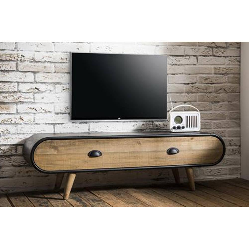 meubles tv meubles et rangements meuble tv au style industriel klaus en ch ne vintage 1 tiroir. Black Bedroom Furniture Sets. Home Design Ideas