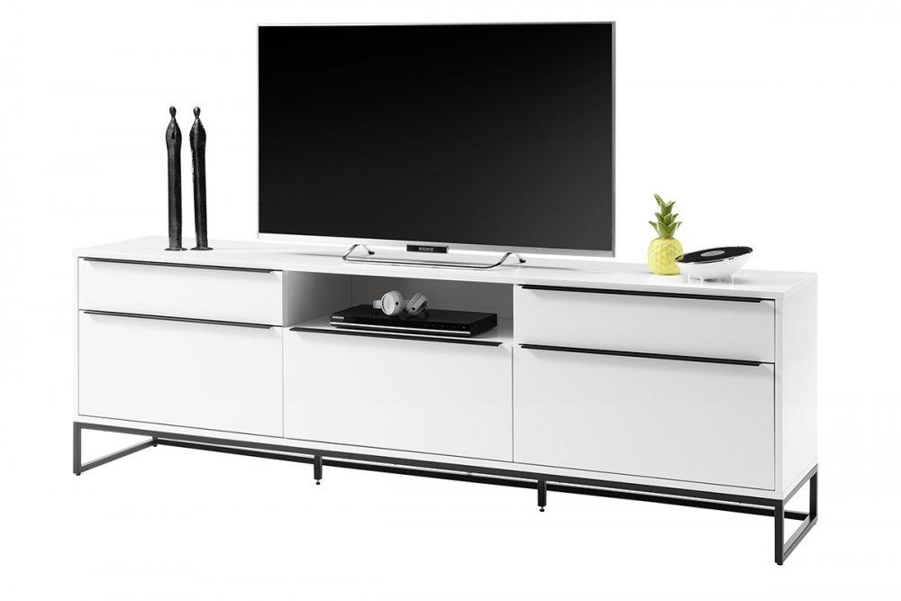 Meuble TV LUARD blanc laque mat 5 tiroirs 1 niche piétement métal noir