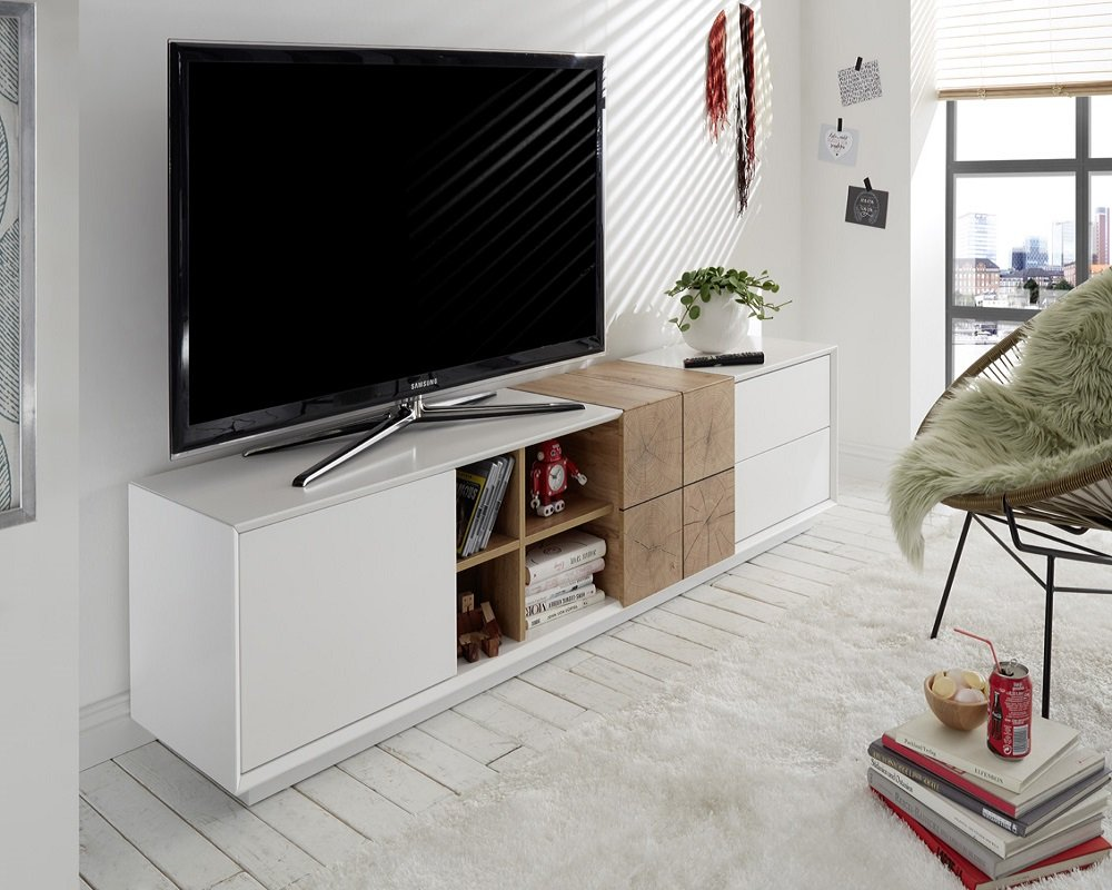 Meuble TV MARKUS 180 cm laqué blanc mat et décor chêne 2 portes 2 tiroirs