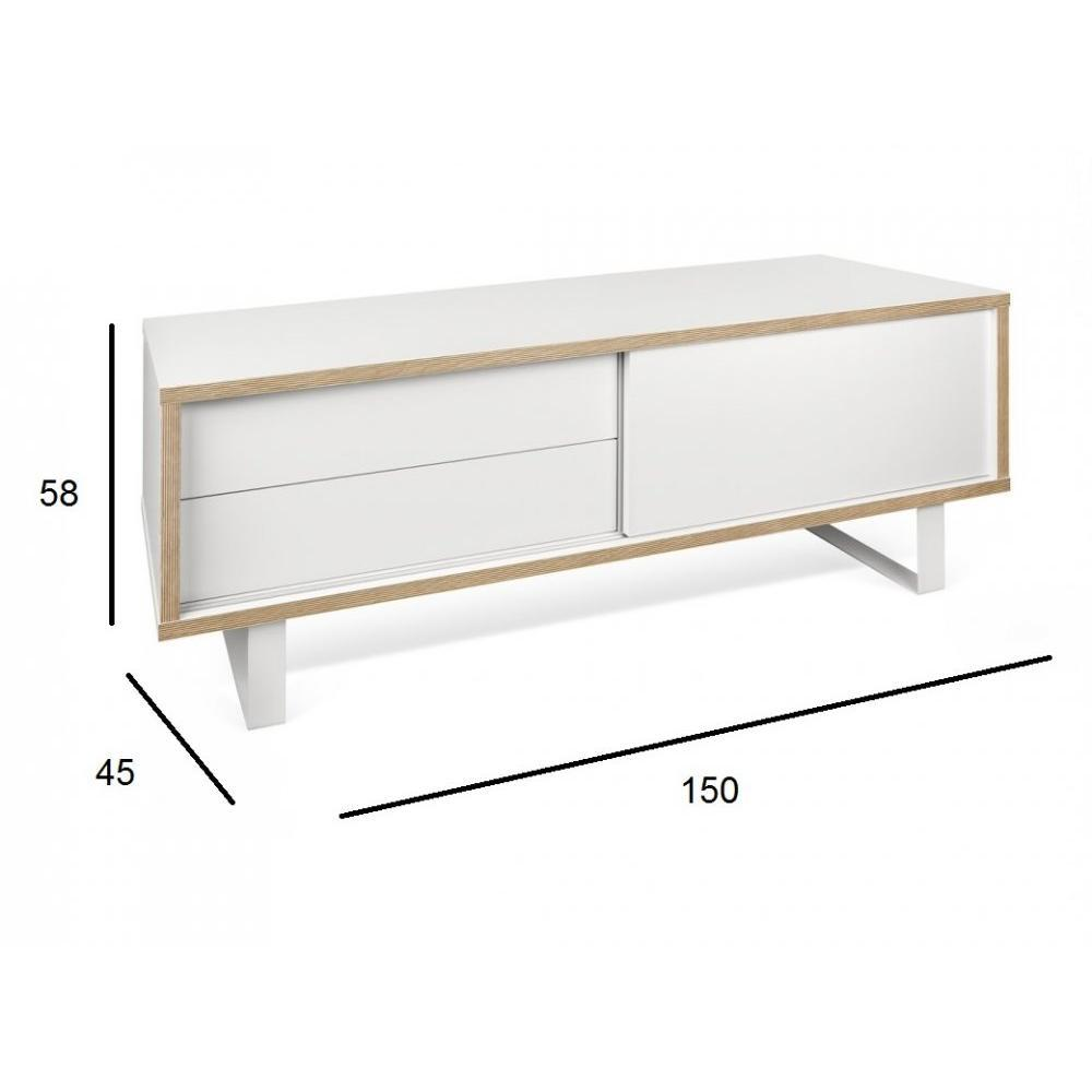 meubles tv meubles et rangements nilo meuble tv design blanc mat et bois avec 1 porte. Black Bedroom Furniture Sets. Home Design Ideas