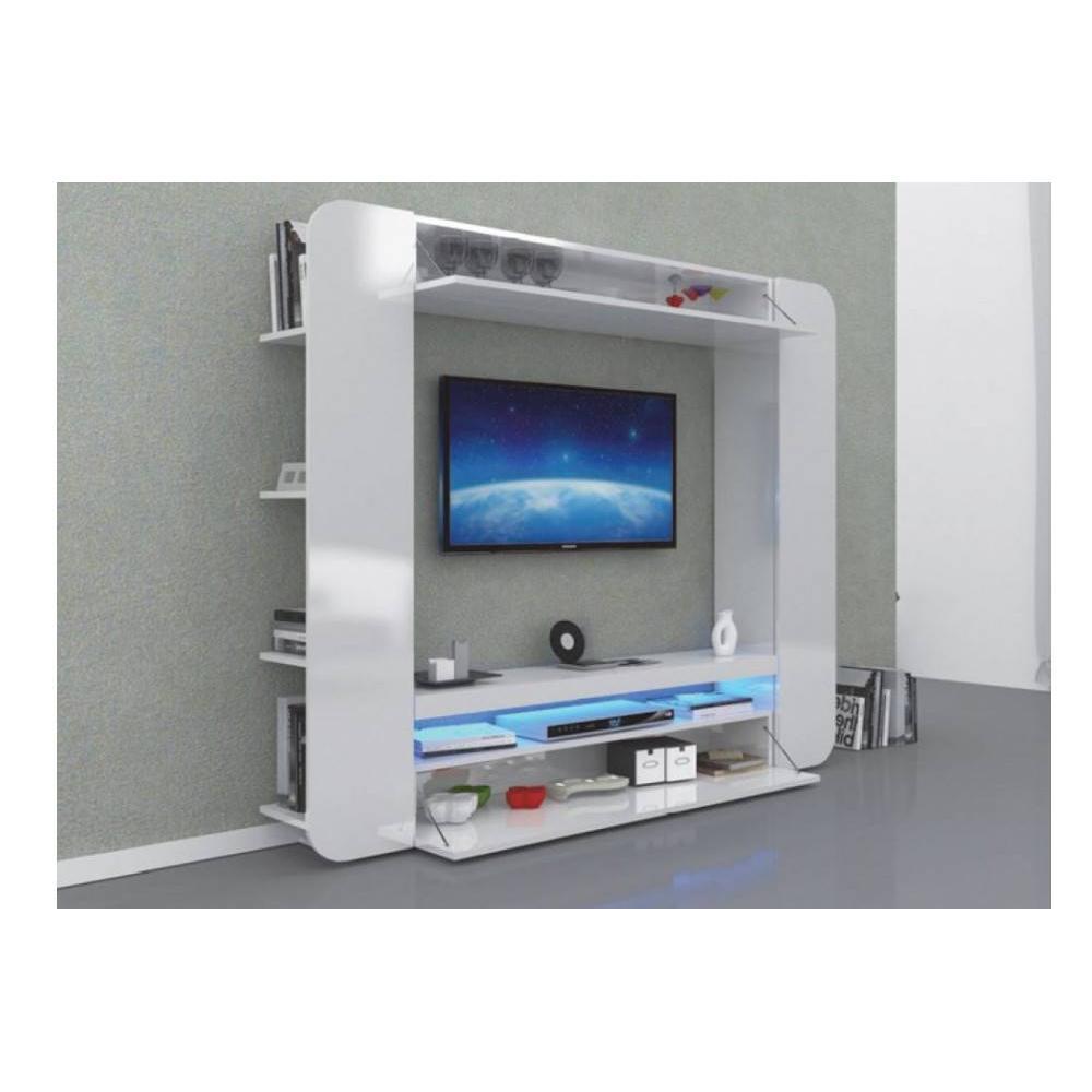 Meubles Tv Meubles Et Rangements Meuble Design Tv Square Blanc  # Meuble Tv Escamotable Design