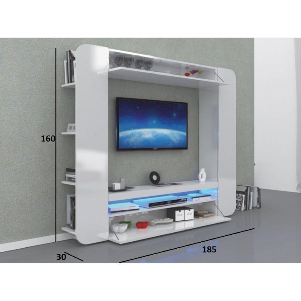 Meubles Tv Meubles Et Rangements Meuble Design Tv Square Blanc  # Meuble Tv Escamotable