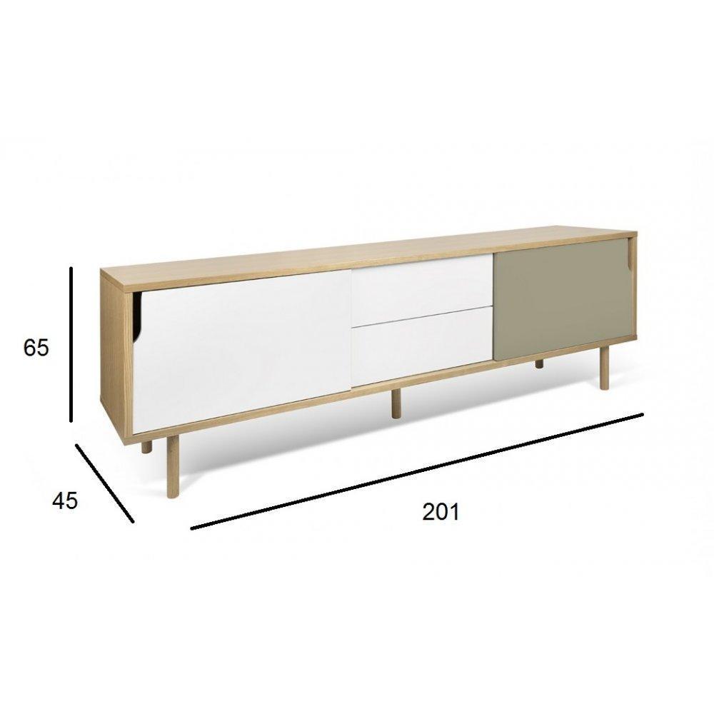 meubles tv meubles et rangements meuble tv dann ch ne avec 2 portes coulissantes et 2 tiroirs. Black Bedroom Furniture Sets. Home Design Ideas