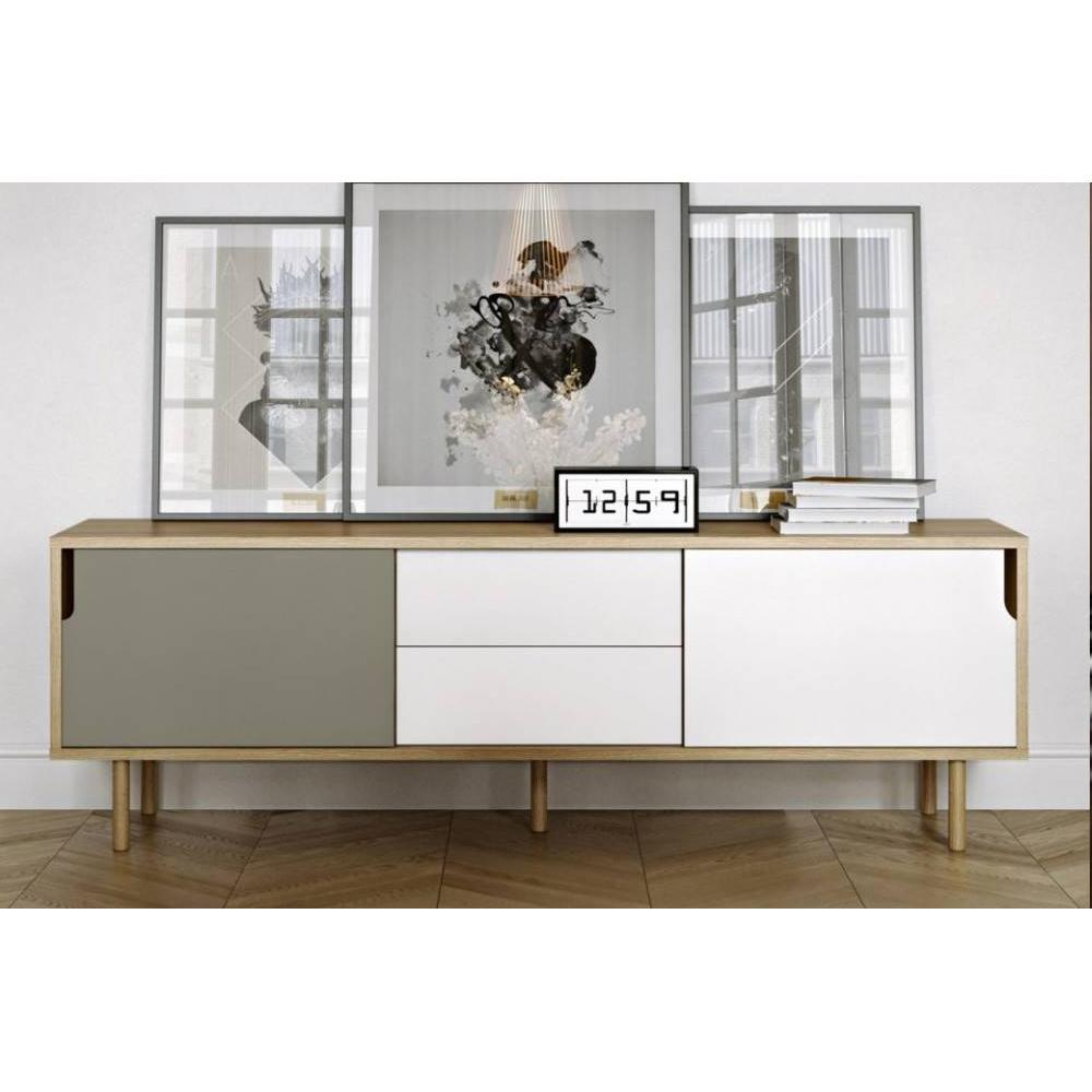 meuble TV DANN chêne avec 2 portes coulissantes et 2 tiroirs