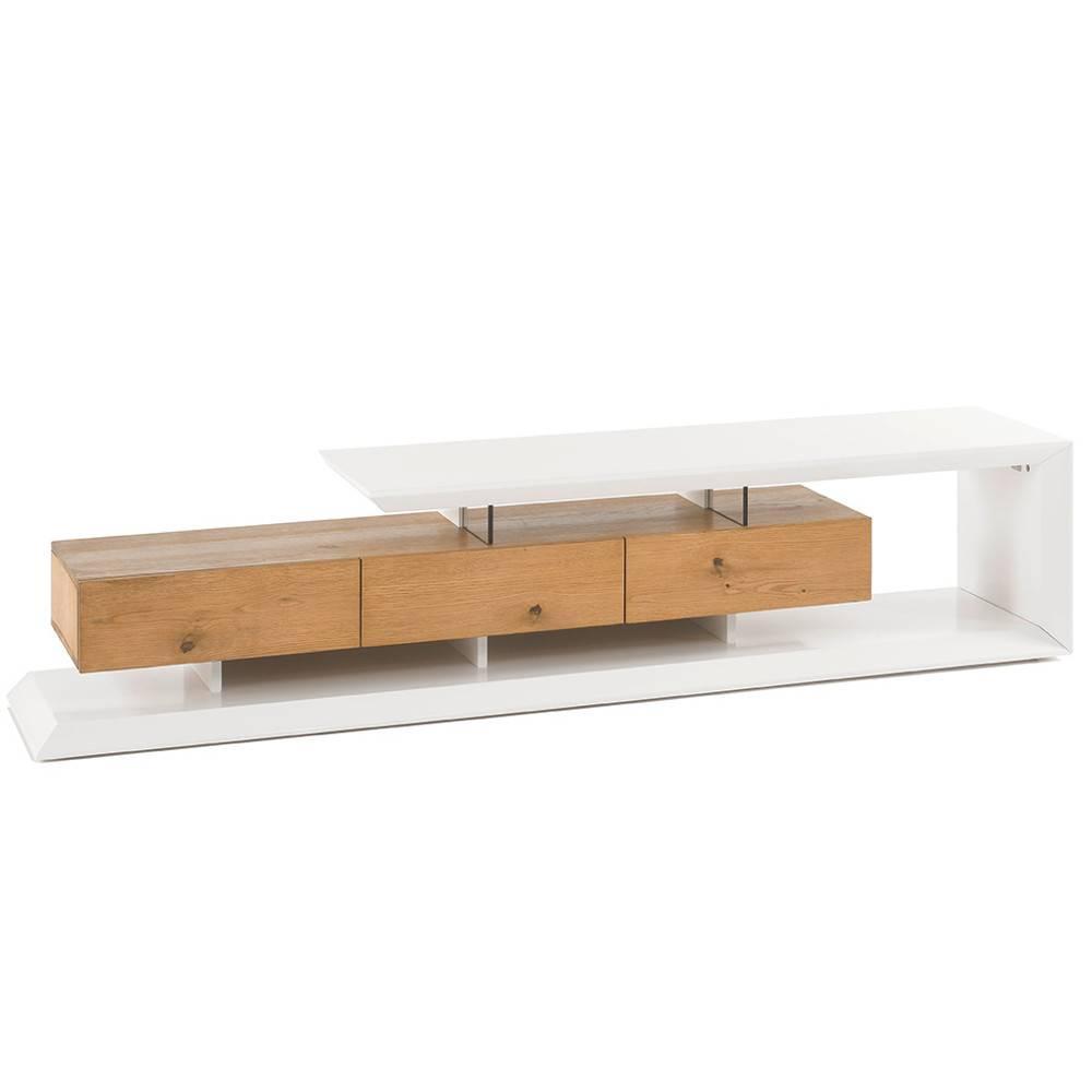 Meuble TV Design Scandinave EMERAINVILLE 3 Tiroirs Laqué Blanc Mat Et Chene  Massif