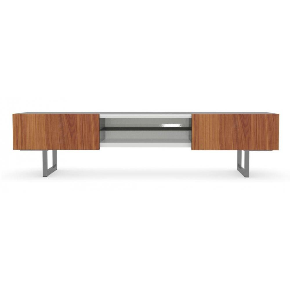 meubles tv meubles et rangements calligaris meuble tv design seattle noyer et blanc brillant 2. Black Bedroom Furniture Sets. Home Design Ideas