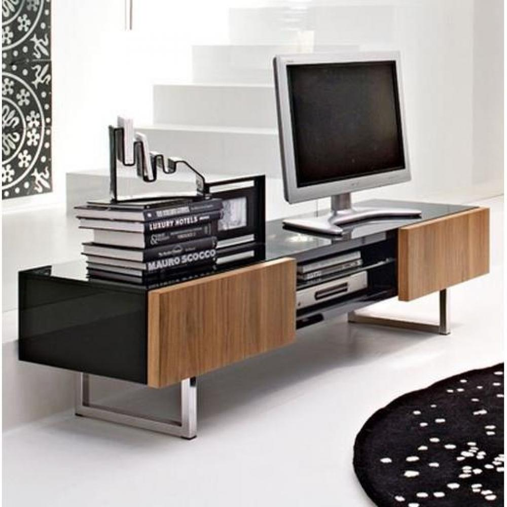 meubles tv meubles et rangements meuble tv design seattle noyer et noir brillant 2 tiroirs de. Black Bedroom Furniture Sets. Home Design Ideas