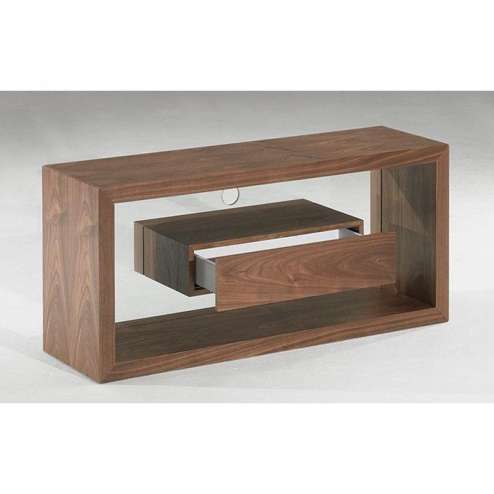 meubles tv meubles et rangements meuble tv design sigma noyer et verre avec 1 tiroir inside75. Black Bedroom Furniture Sets. Home Design Ideas