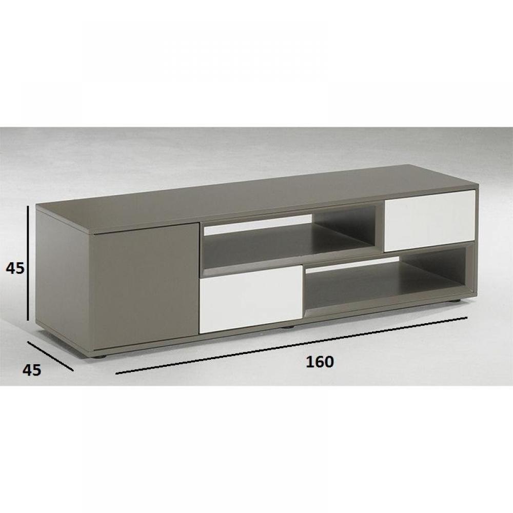 meubles tv meubles et rangements meuble tv design sigma taupe blanc avec 2 niches 2 tiroirs. Black Bedroom Furniture Sets. Home Design Ideas