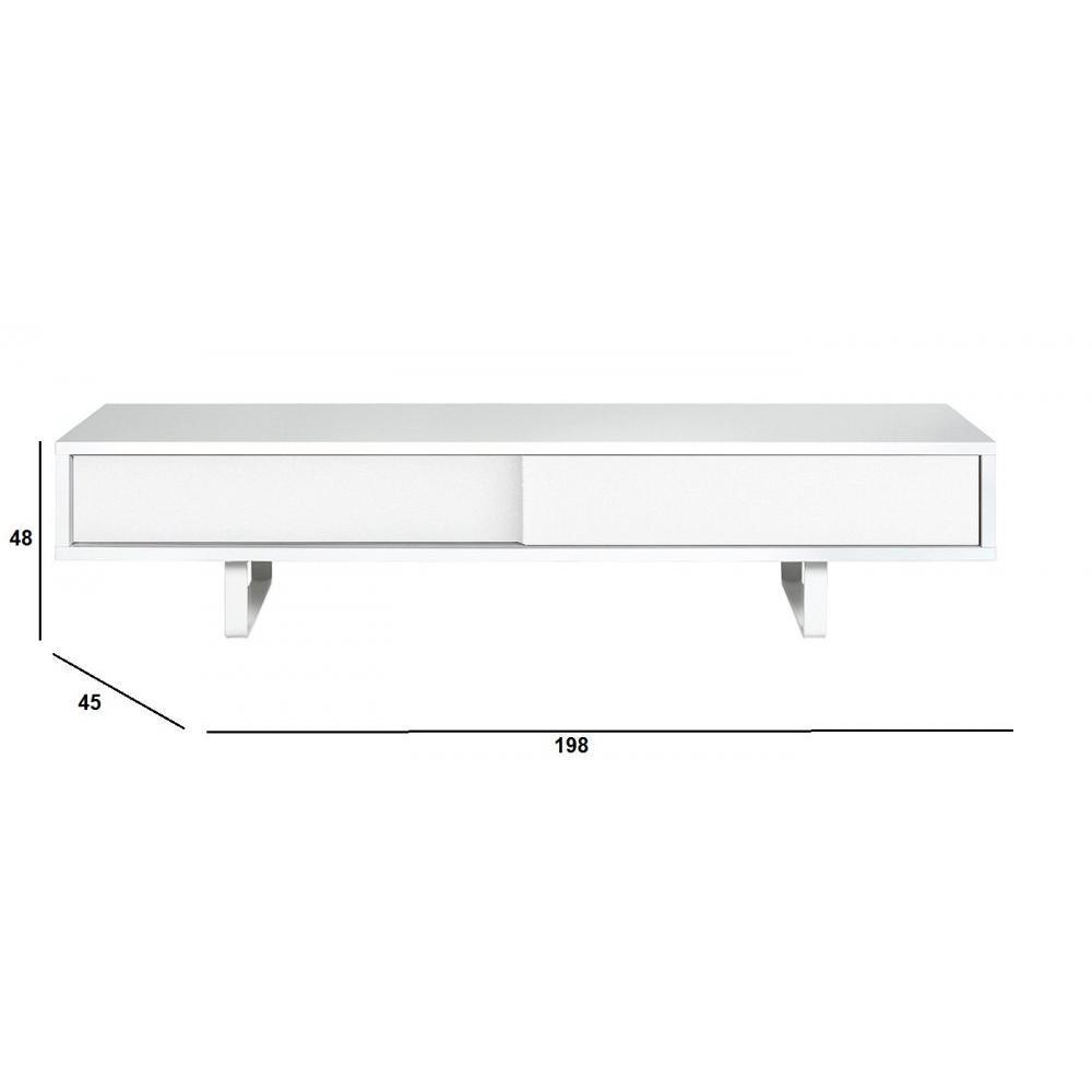 Meubles Tv Meubles Et Rangements Temahome Slide Meuble Tv Design  # Meuble Tv Blanc Mat Porte Coulissante