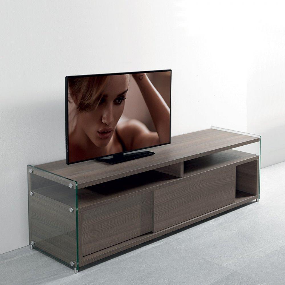 Meubles Tv Meubles Et Rangements Meuble Tv Talac 140cm Noyer 2  # Meubles Tv En Bois D'Orme