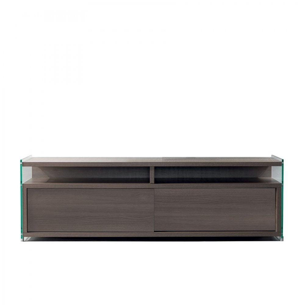 Meuble TV TALAC 140cm noyer 2 portes coulissantes