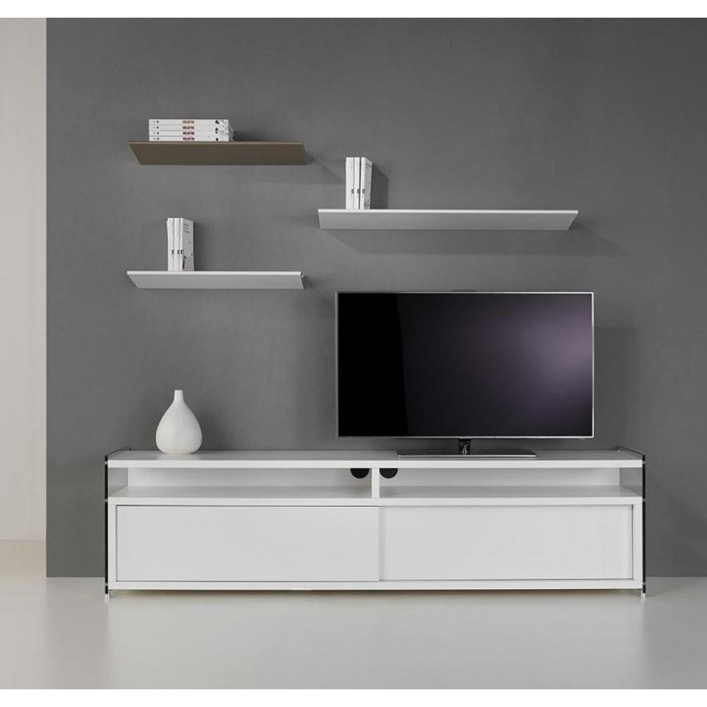 Meubles Tv Meubles Et Rangements Meuble Tv Talac 180 Cm 2 Portes  # Meuble Tv Blanc Mat Porte Coulissante