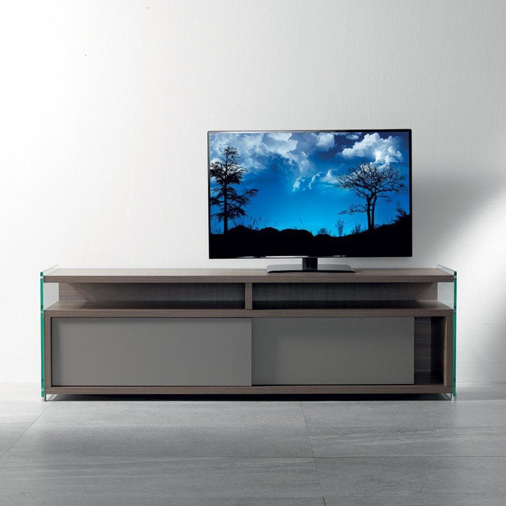meubles tv meubles et rangements meuble tv talac 180 cm coloris noyer avec 2 portes. Black Bedroom Furniture Sets. Home Design Ideas
