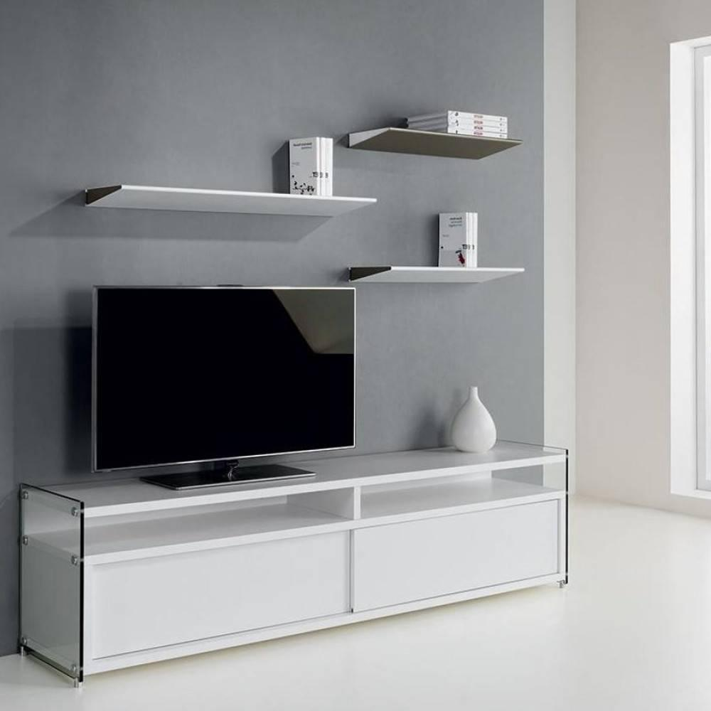 meubles tv meubles et rangements meuble tv talac 2 portes coulissantes blanc mat inside75. Black Bedroom Furniture Sets. Home Design Ideas