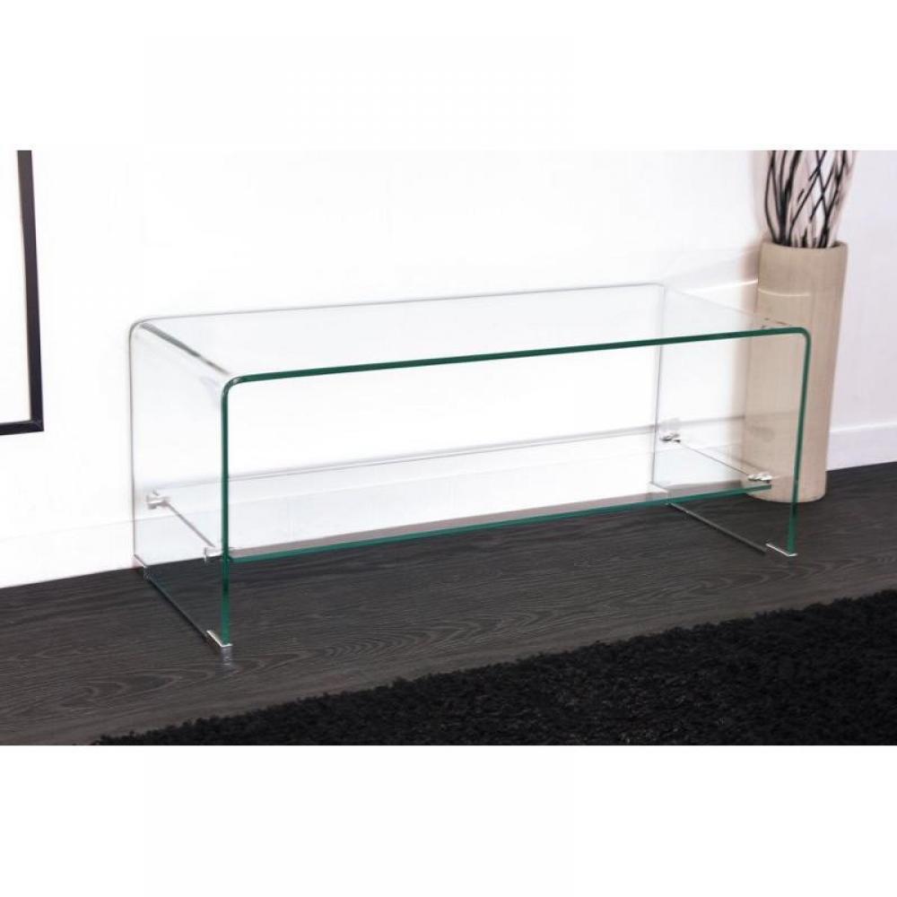 meubles tv meubles et rangements meuble tv design side en verre tremp 12mm transparent inside75. Black Bedroom Furniture Sets. Home Design Ideas