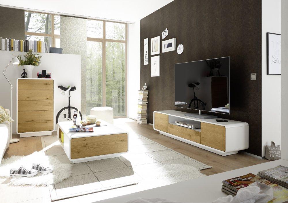 Meuble TV TURENNE Blanc Mat 2 portes 1 tiroir Placage Chêne
