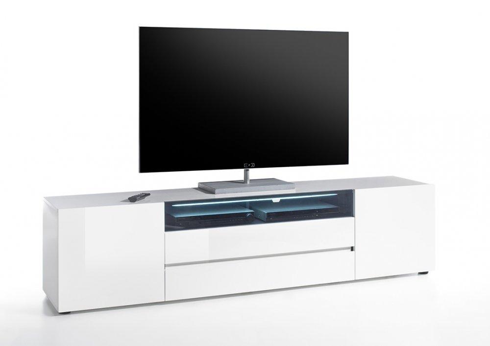 Meuble TV VERONA 203 cm laqué blanc brillant 2 portes, 2 tiroirs, 1 niche