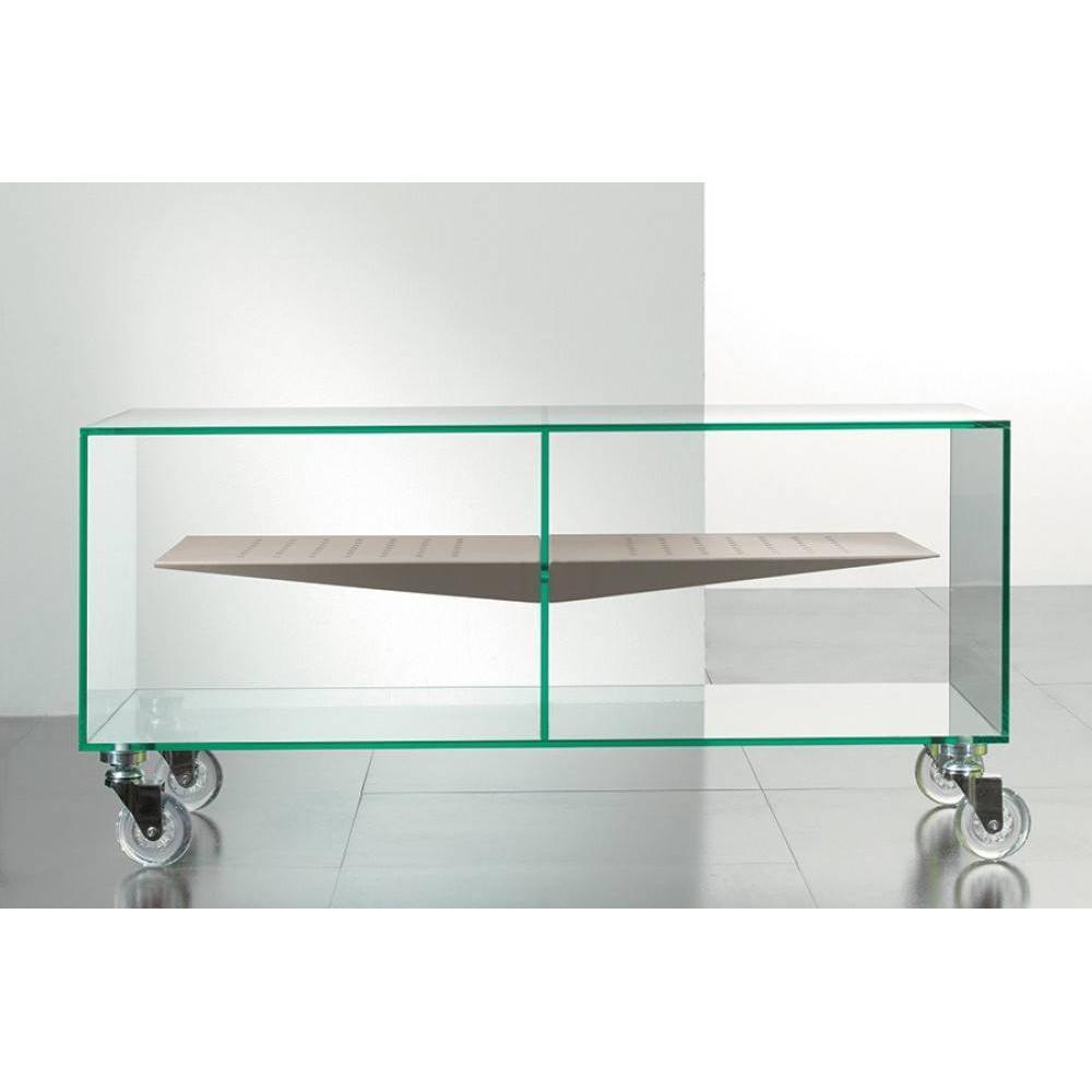 meubles tv meubles et rangements meuble tv malta en verre tag re centrale taupe inside75. Black Bedroom Furniture Sets. Home Design Ideas