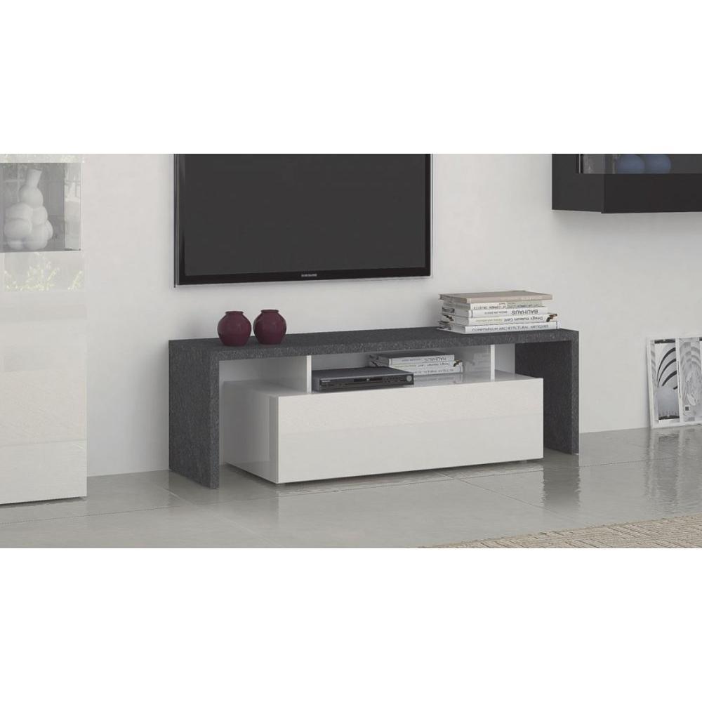 Meubles Tv Meubles Et Rangements Meuble Design Tv Treviso 2  # Meuble Pour Tele En Melamine Noir Et Blanc