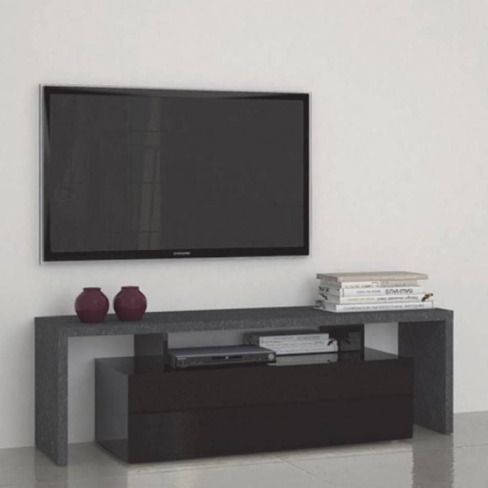 Meubles Tv Meubles Et Rangements Meuble Design Tv Treviso 2 Noir  # Meuble Tv Escamotable Design
