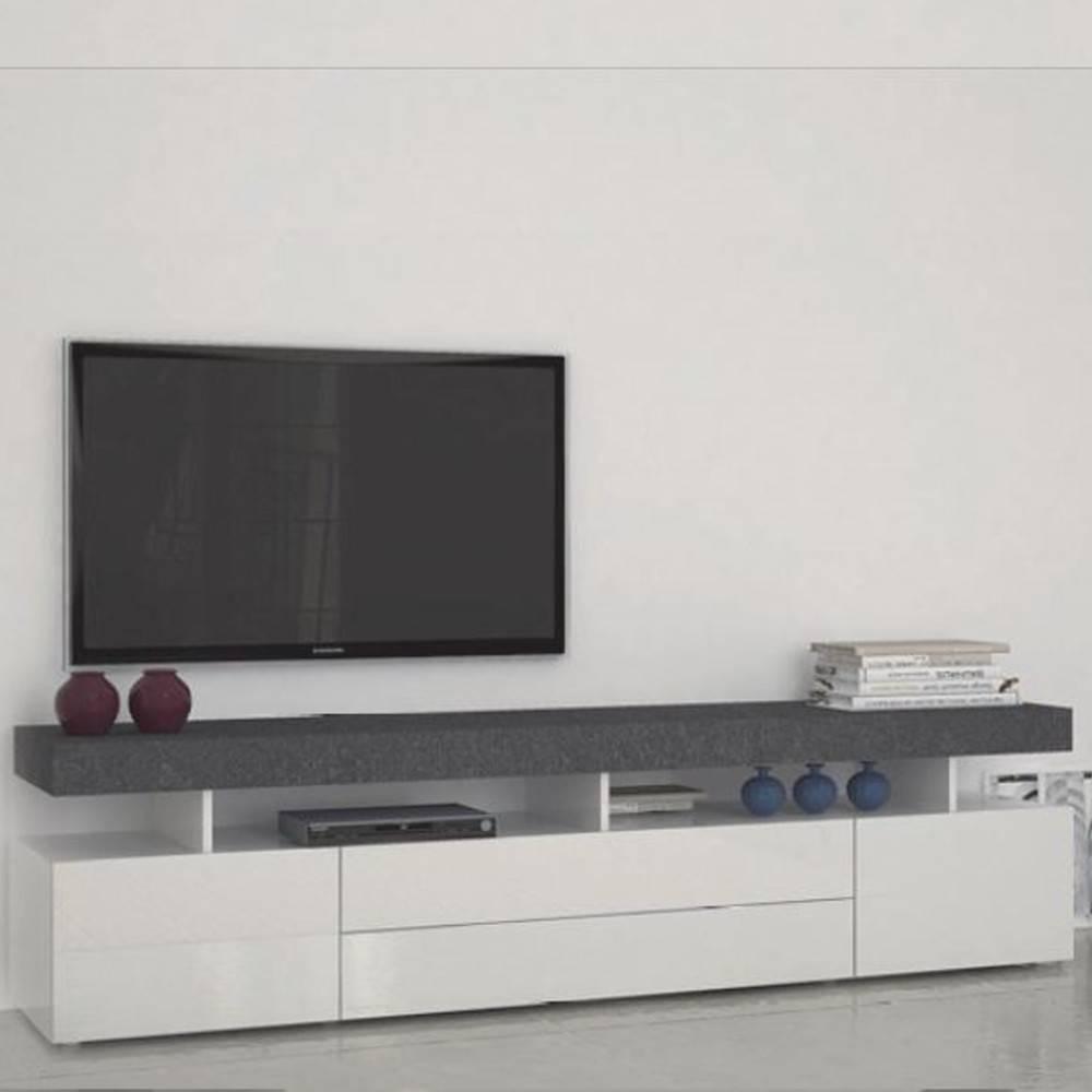 Meubles Tv Meubles Et Rangements Meuble Tv5 Design Treviso Effet  # Meuble Tv Avec Etagere