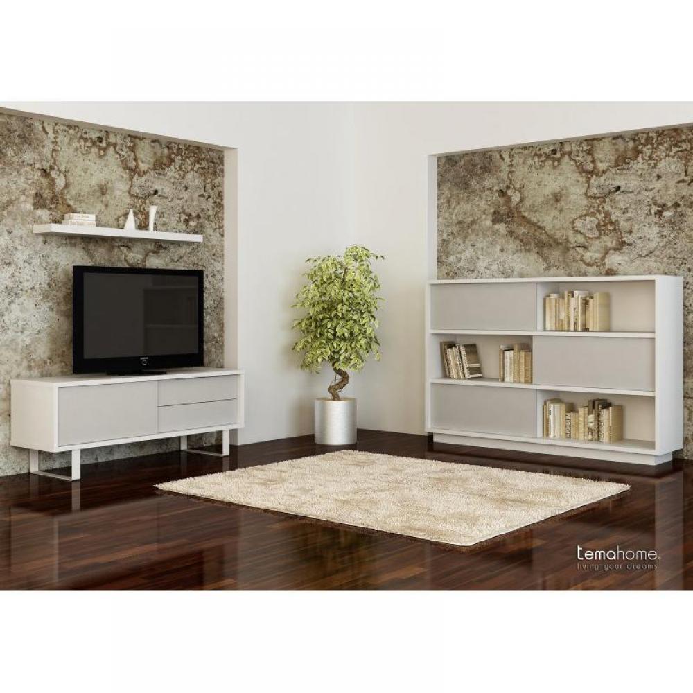 Meubles tv meubles et rangements tema home nilo meuble tv design laque blanc mate avec portes for Meuble design portugal