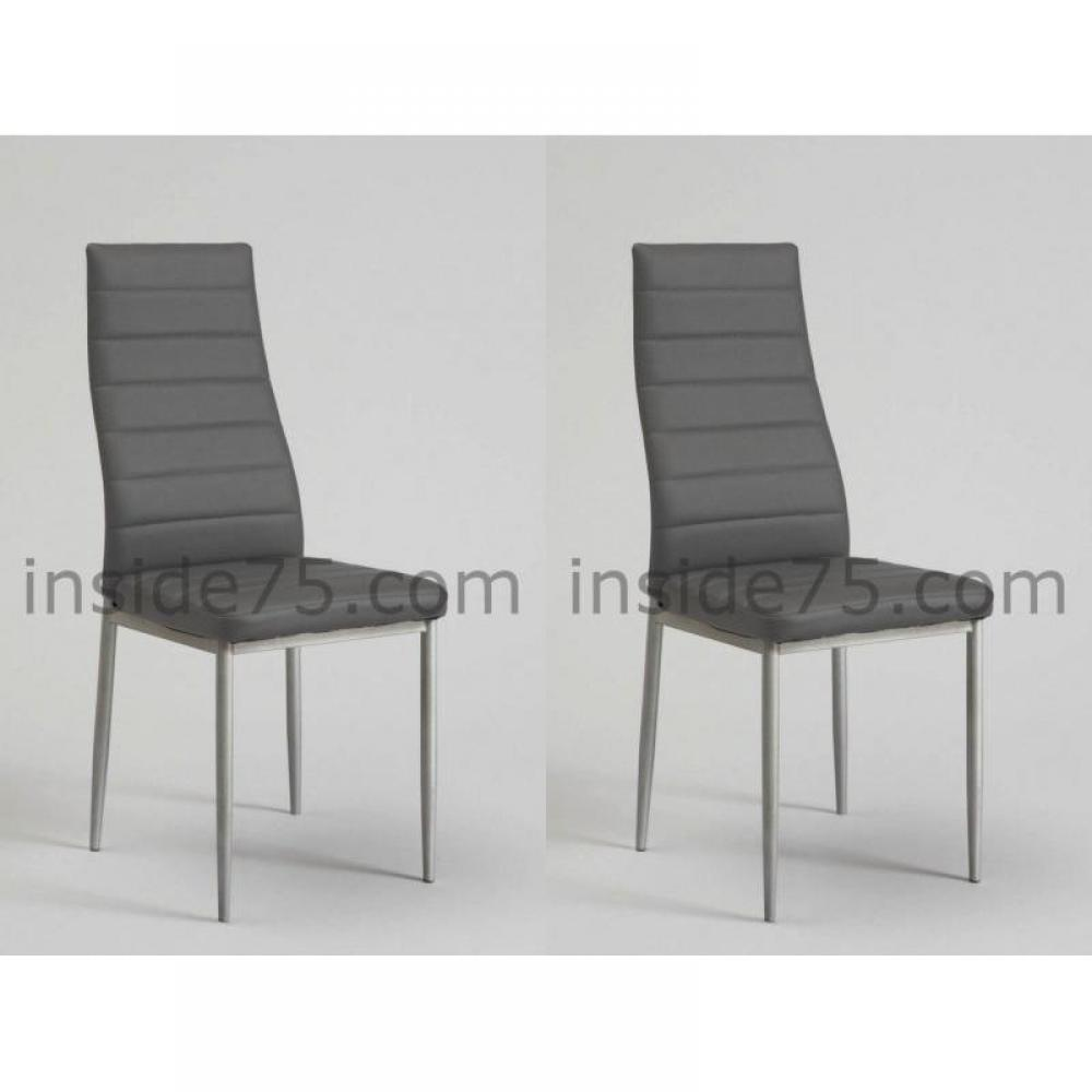 chaises meubles et rangements lot de 4 chaises modern de salon repas capitonn e gris design. Black Bedroom Furniture Sets. Home Design Ideas