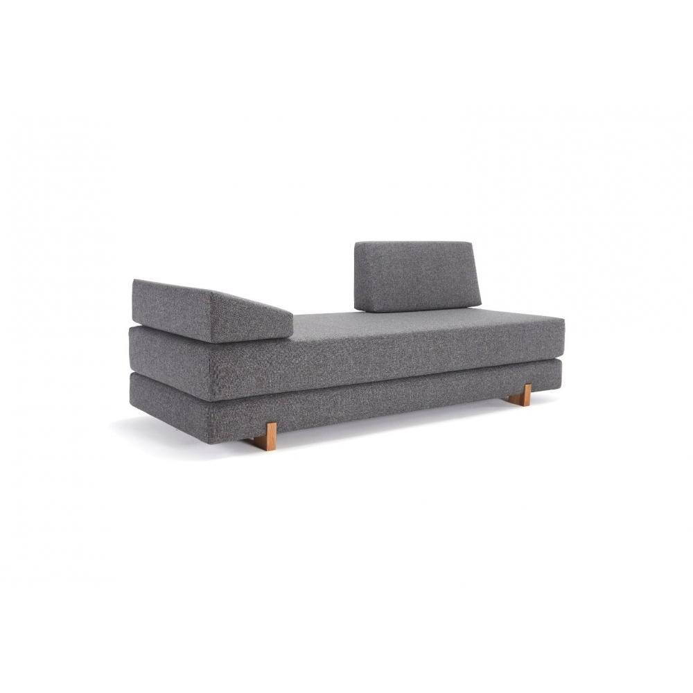 INNOVATION LIVING Méridienne lit DAYBED design MYK gris Twist Charcoal pieds chêne convertible lit 200*160 cm