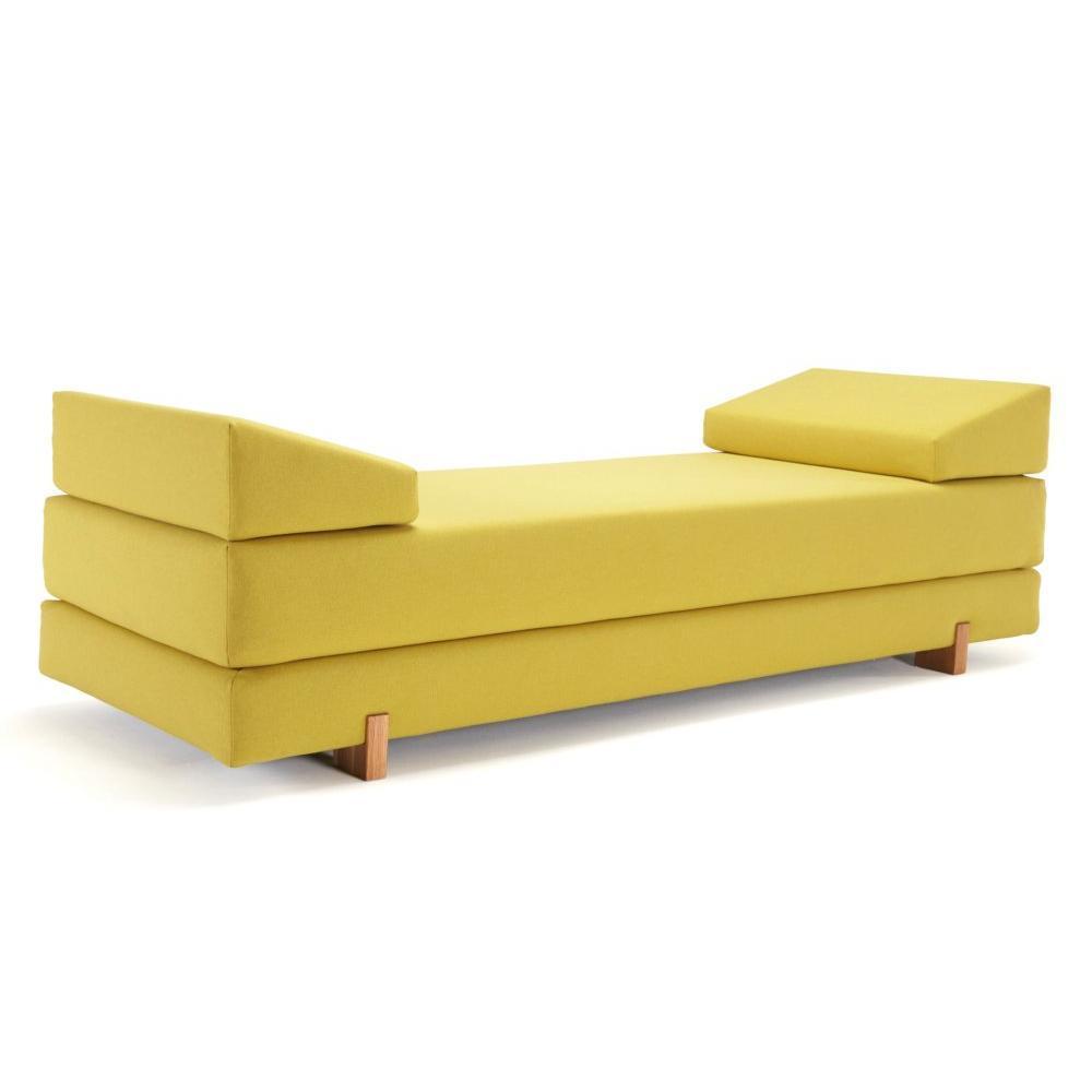 INNOVATION LIVING MYK jaune pieds chêne méridienne convertible lit 200*160 cm